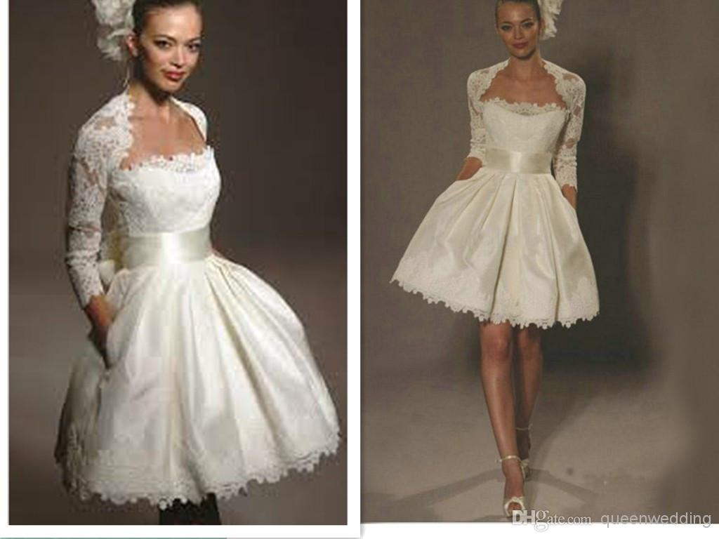 Fashion Short Wedding Dreses A Line Strapless Sashes Lace