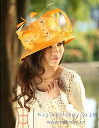 Wholesale Women Hat Ladies Hat For Church Fashion Fresh Orange Color Sinamay Hat With Stones And Feathers Women Hat Free EMS Shipping