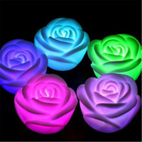 best christmas candle - Best Romantic LED Rose Light Changeable Color LED Rose Flower Candle Lights Smokeless Flameless Roses Love Lamp Valentine s Day Gifts