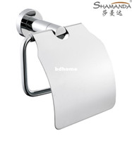 Cheap Free Shipping Toilet Paper Holder,Roll Holder,Tissue Holder with Cover,Solid Brass Construction ,Chrome Finish-wholesale-96008