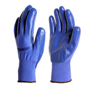 Wholesale Itemship Zebra needle half rubber oil resistant wear resisting Work wear labor insurance gloves industrial protective nitrile butadiene d