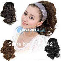 Wholesale Women s Girls Elegant Bride Wavy Topknot Hair Extension PonyTail Fluffy Bud Hair Bun