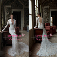 Cheap 2014 Backless Wedding Dresses Berta Bridal Deep V Neck Poet Long Sleeve Lace Sheer Chapel Train Backless Winter Sheath Formal Gowns BO3924