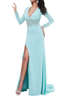 Model Pictures V-Neck Chiffon 2014 Long Sleeves Prom Gown Sexy V Neck Sheer Back With Beadings Sheath Skirt Aqua Pageant Prom Dresses With High Slit RW4836