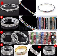 Wholesale 1 Row Wedding Bridal Crystal Diamante Rhinestone Stretch Fashion Bracelet Bangle B414 M