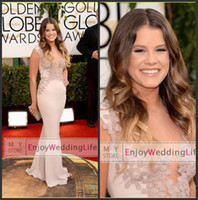 Wholesale 2014 New th Golden Globe Awards Sosie Bacon Satin Mermaid Tulle Lace Applique Red Carpet Celebrity Dresses BO4217