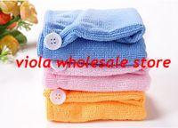 Wholesale Microfiber Magic Hair Dry Drying Turban Wrap Towel Hat Cap Quick Dry Dryer Bath make up towel