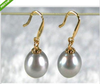 Wholesale GORGEOUS MM gray AAA south sea pearl dangle earring K gold