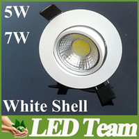 Wholesale Crazy Quality hrs Life White Shell COB Dimmable W W Led Down Light Led Fixture Ceiling Downlight Lamp Led Recessed lamp V CE