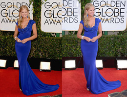 Wholesale 71th Golden Globe Awards Celebrity Red Carpet Dresses Nancy O Dell Lace Mermaid V Neck Short Sleeves Elegant Long Formal Evening Gowns