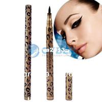 Waterproof Pencil 1Pcs Wholesale - Waterproof Liquid Eyeliner Pen Black Eye Liner Pencil Makeup Cosmetic Leopard Free Shipping 6025