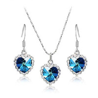 Wholesale stunning crystal jewelry set new fashion jewelry Ocean heart AustrianCrystal Necklace Earrings Set Heart of Ocean earrings necklace set