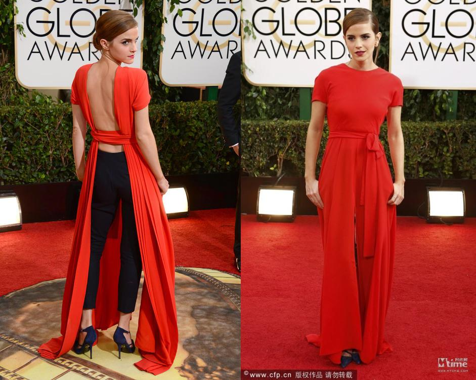 Buy Enchanting Emma Watson 71th Golden Globe Awards Celebrity Red Carpet Dresses Crew Neck Short Sleeves Backless Split Front Evening Gowns