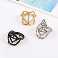 mens diamond ring - Punk Womens Mens Hollow Triangle Diamond Geometric Shaped Rings Sets Personalized Ring Jewelry
