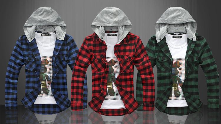 Wholesale new cotton couple shirts casual fashion Hoodie Plaid mens shirts red blue green 5sizes, Free shipping, $19.86/Piece | DHgate Mobile