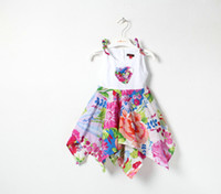 TuTu Summer Asymmetrical 2014 New children's baby kids Summer Irregular Vest flower one-piece dress children's clothing wholesale pink blue