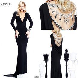 Wholesale Sexy Design Mermaid Tarik Ediz Long Sleeve Evening Dresses Deep V neck Sweep Train Black Chiffon Backless Evening Gowns Popular Prom Dresses