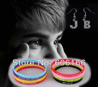 belieber bracelet - Mix Hot mm Justin Bieber Belieber Silicone Bracelet Wristbands JB Earring Fashion Jewelry