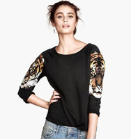 Wholesale 2014 Women New Fashion Punk Tiger head Printing T shirts European style casual Long Sleeve T shirts MY1