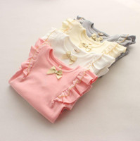 Wholesale Hot Sale New baby girl Tops Girls cotton Princess Bow lace long sleeved t shirt bottoming shirt Kids T shirt