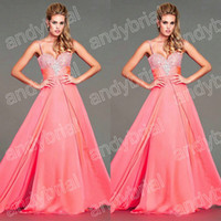 2014 Top Sell Spaghetti Beaded Strap Prom Dresses Evening Dr...
