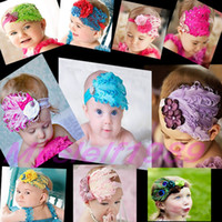 Wholesale 10 Colors Newest Fashion Baby Headwear Natural Feather Flower Diamond Headband Girl Hair Ornaments Hairband Kids accessories