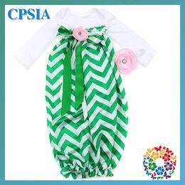 Wholesale Newborn chevron satin sleep sack bubble gown Zig Zag white long sleeve baby clothing flower headband set set