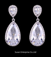 Wholesale Elegant Teardrop Shape Swiss Cubic Zirconia Diamond Bridal Earrings