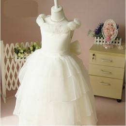 Custom made Pageant Party Bateau Hand Made Flower Girls dresses A-line White Organza Flower Girl Dresses