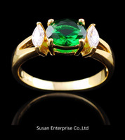 Wholesale Jewellery rings Emerald sapphire women s KT yellow Gold Filled Ring for gift Size pc freeshipping