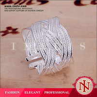 South American american stock trade - Fine silver ring stock sale special mixed batch of foreign trade exquisite Korean large reticulated Ring R024