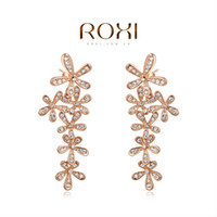Wholesale ROXI elegant rose golden flower earrings fashion jewelrys high end earrings for women factory price Christmas gifts A