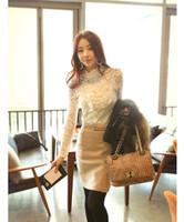 Women Lace Regular Hot Sale S M L XL XXL Korean Fashion Floral Women White Turtle Neck Ruffle Beading Long Sleeve Tops Lace Blouses Basic