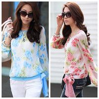 Wholesale New Fashion Women s Floral Print Pattern Casual Puff Long Sleeve Tops Flower Chiffon Blouses Women