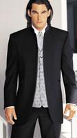 Actual Images dhg - Custom made men suit black mens wedding suits peak lapel with satin mens tuxedos Jacket Pants Tie Pocket DHG