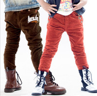 Wholesale Hot Sale New Spring Children casual cotton pants boy Corduroy Letters AK casual Pants Trousers Brown Red