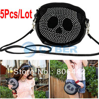 Wholesale 5pcs New Black Small Cute Panda Lady Bling Rhinestone Handbag Purse Shoulder Bag Tote Messenger Bag