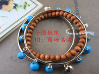 Pendant Necklaces Alloy / Silver / Gold other / other free shippingEuropean and American fashion jewelry natural wood beads wooden beads bohemian retro blue pearl stretch bracelet set of female