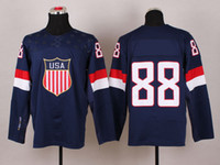 Ice Hockey Unisex Full 2014 Olympics USA Hockey Jerseys Team Wholesale Cheap Ice #88 Blue Jersey
