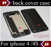al por mayor iphone 4s puerta-Al por mayor - Volver batería de cristal de la puerta de Vivienda el reemplazo de la parte con difusor de flash para el iPhone 4 4S