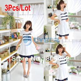Wholesale 3Pcs Summer Pregnant Short Sleeve Dress Maternity Clothing Cotton Maternity Dress White