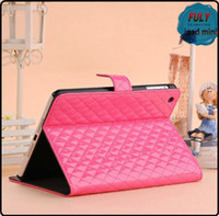 Wholesale Hot selling elegant leather flip case for iPad mini grid pattern leather cover stand case