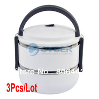 Ceramic Dinnerware Sets 15039# 3Pcs Lot New Double Layer Stainless Steel Children Lunch Box 1.4L Keep Warm Food Container For Kids White 15039