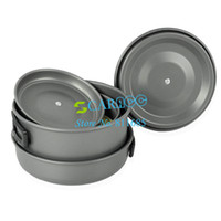 Wholesale New Aluminum Outdoor Camping Hiking Cookware Backpacking Cooking Picnic Bowl Pot Pan Set DS300