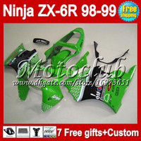 Wholesale 7gifts Free Customized body green black For KAWASAKI NINJA ZX6R ZX636 ZX MC6203 ZX R green ZX R R Fairing
