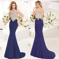 Wholesale Illusion Scoop Neckline Tarik Ediz Spring Summer Sheer Back Evening Dresses Beaded Long Mermaid Prom Dresses High Necks Evening Gowns