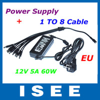 Wholesale EU V A DC Power Supply Adapter to Splitter Cable for CCTV Security DVR Camera