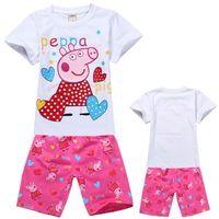 Cheap Free shipping 2014 brand new baby summer suits girls set Peppa Pig clothing girl pajamas children pajama children homewear sleepwear pyjamas