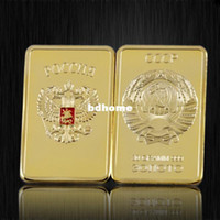 Wholesale Customized Coins HOT SALE Retail RARE OZ SOVIET RUSSIAN USSR CCCP PURE K GOLD LAYERED INGOT BULLION BAR