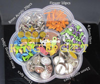 Wholesale Mixed Design Scrapbook Brads Collection Acrylic Pearl Flower Metal Brads Mixed Size Scrapbooking Product